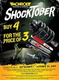 Shocktober!!! Four struts or shocks for the price of three!